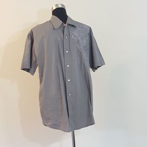 Monarchy Gray Embroidered Snap Front Shirt XXL